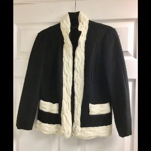Zara white trimmed black knit open jacket size M